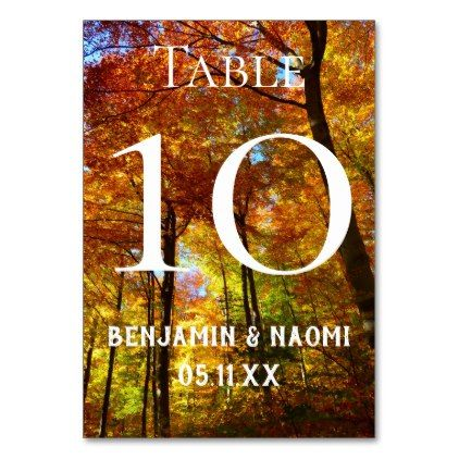 fall trees wedding table number cards in 2018 autumn pinterest