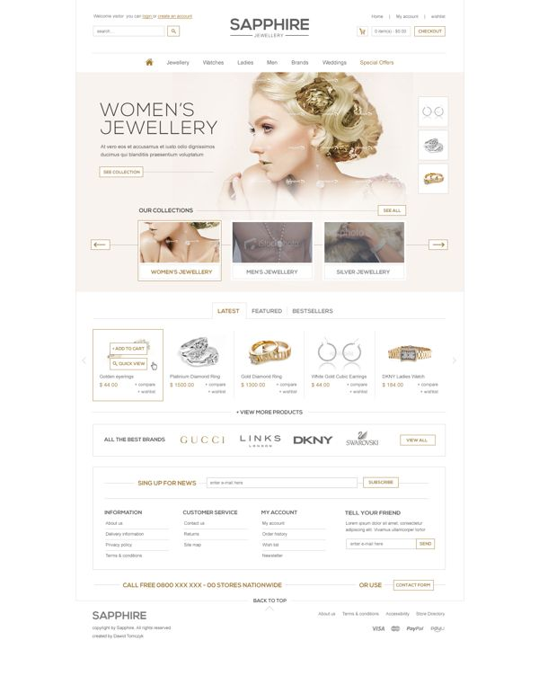 Sapphire Jewellery by Dawid Tomczyk #clean #ecommerce #webdesign