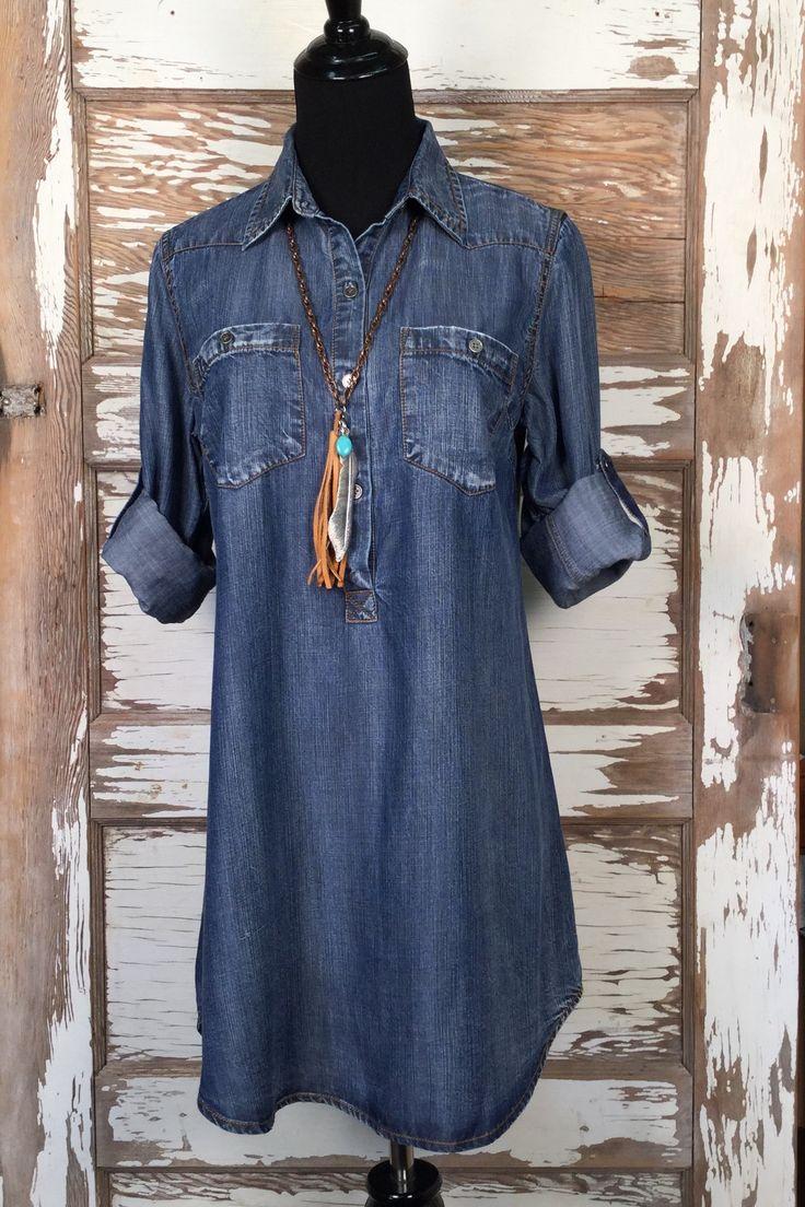 Durango Tencel Denim Shirt is an adorable tunic style top. Long Enough for…