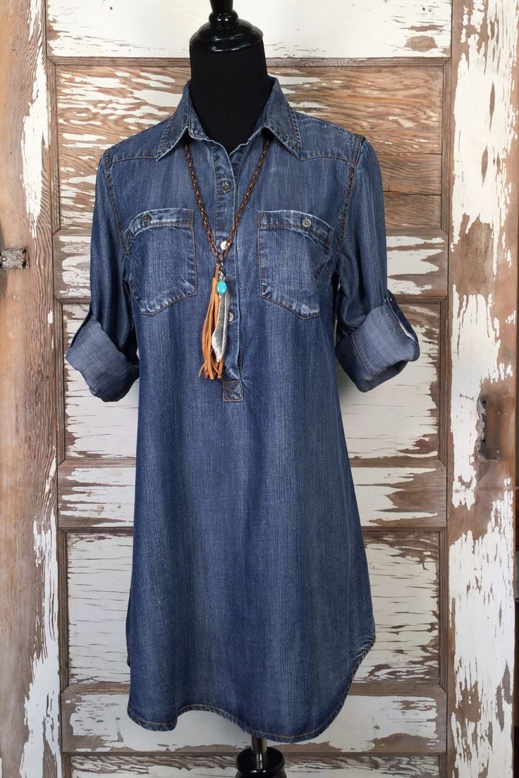 Durango Tencel Denim Shirt is an adorable tunic style top. Long Enough for…