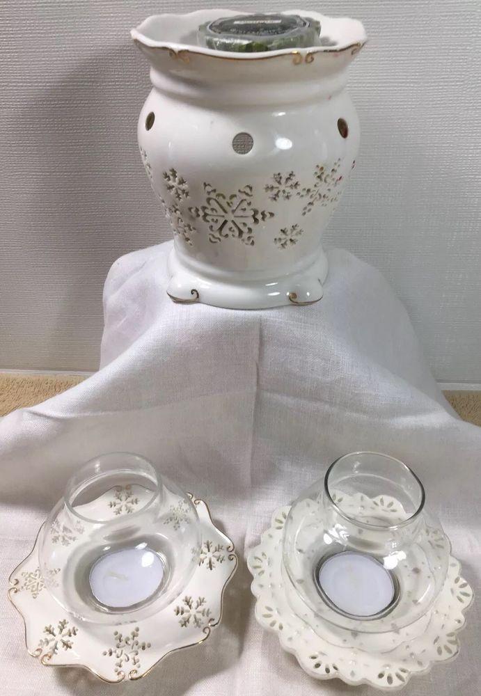 Yankee Candle Snowflakes Cutout P6 Ceramic Wax Melt Warmer PLUS Tealight Holders #YankeeCandle #Holiday