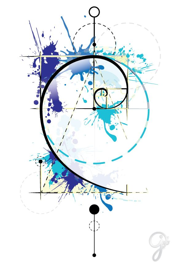 Custom Golden Ratio Tattoo Design.   Artist: Caitlin Jab   Proportion | Perfection | Perfect Chaos | Adobe Illustrator | Vector | Spiral | Watercolor | Graphic | Splash | Ink | Tat Concept | Geometric | Circle | Abstract | Color | Primary | Blue and Yellow | Drip Drop | Linear | Lines | Sketch Logo