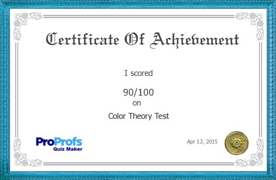 Score Report: Color Theory Test at Free Online Quiz School