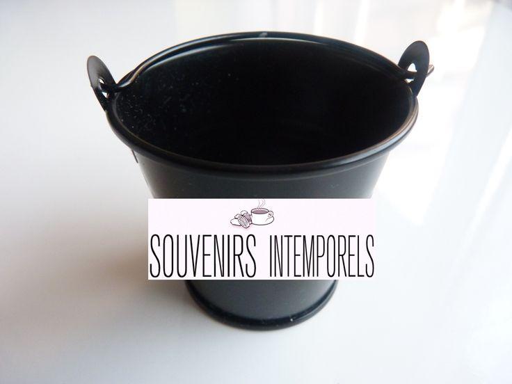 Lot de 5 seaux en métal couleur noir : Décoration de table par souvenirs-intemporels