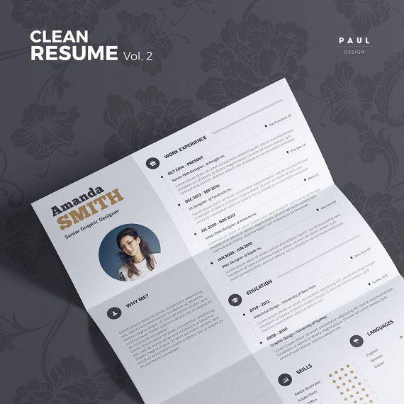 Clean Resume Vol. 2  Word and Indesign by #TheResumeCreator on Etsy  #Lebenslauf #Cv #CurriculumVitae #Resume