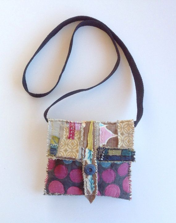 Collaged Textile Art Bag Upcycled One of a Kind by itzaChicThing