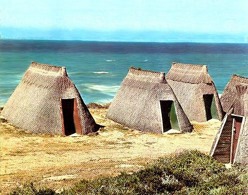 Thatch houses at Puntjie (Little Point), close to Vermaaklikheid, South Africa. They were built in the 1800's by local folk as vacation homes and are still in use today