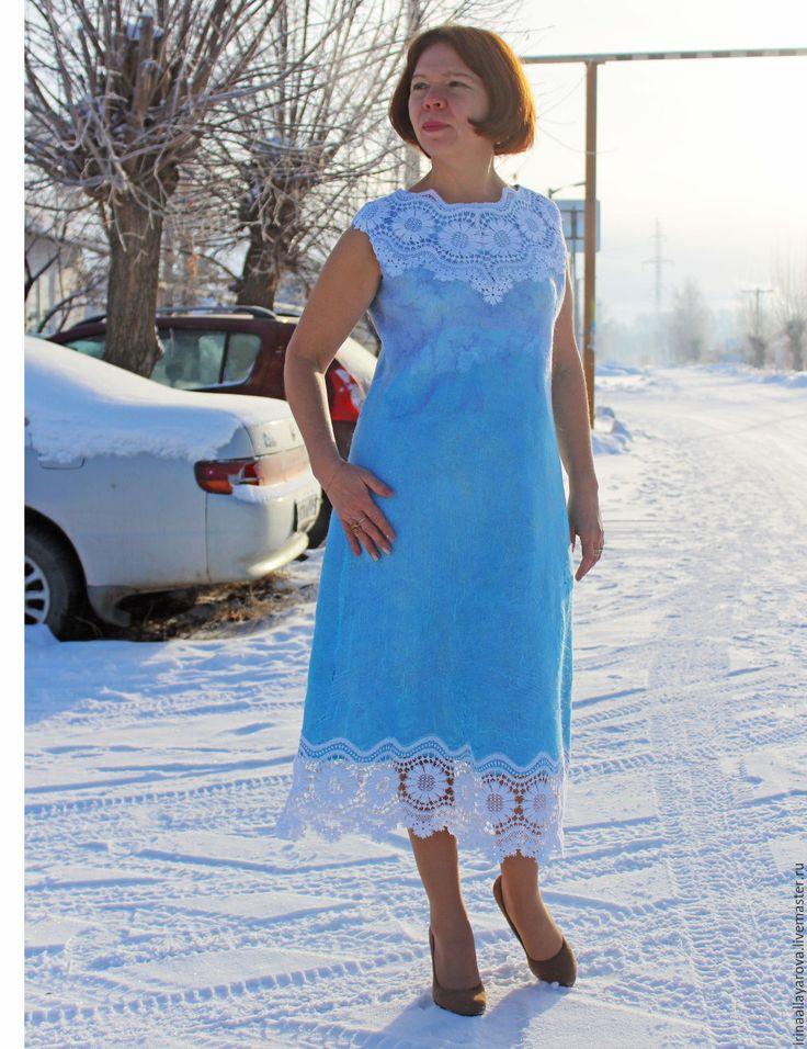 """Купить Валяное платье """"Плауэнское кружево"""" - голубой, однотонный, валяное платье, войлочное платье"""