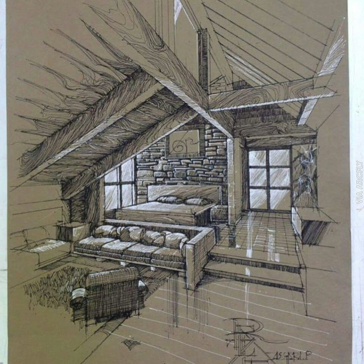 Duotonal sketch on midtone paper dibujos de arquitectura - Architektur zeichnen ...