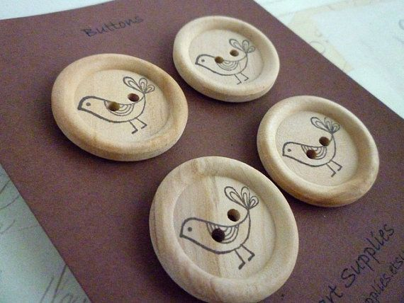 Wooden Buttons - Stamped Bird Collection - 30mm