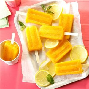 Lemon-Apricot Fruit Pops Recipe -With just 31 calories and less than 1 tsp. added sugar per serving, this is one lightly refreshing summer dessert everyone can find room for! —Aysha Schurman, Ammon, Idaho