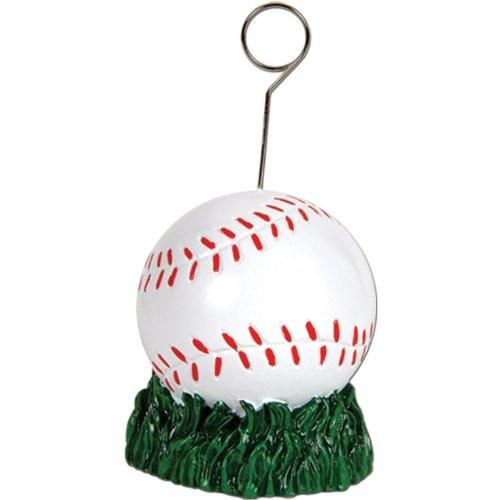 This awesome Baseball Photo/Balloon Holder can be used as either a balloon weight or as a way to display photos. This 5'' holder is great for birthday parties,