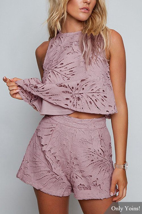 Purple Sexy Hollow Design Lace Details Sleeveless Co-ord - US$25.95 -YOINS