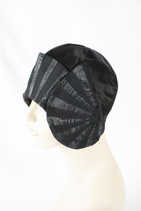 Vintage 1920s Hat Art Deco Black Satin Cloche by Le Wharton Chapeau Sz 21.5 by alleycatsvintage on Etsy