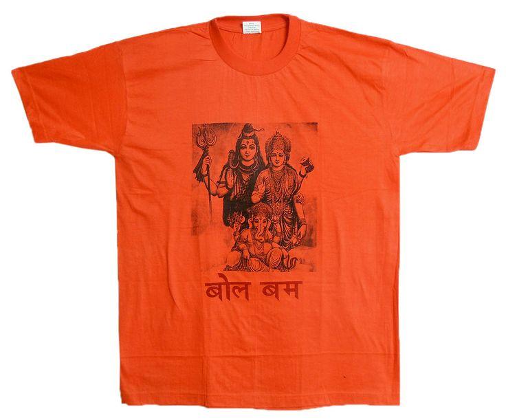 Shiva Family Print on Saffron T-Shirt (Cotton)