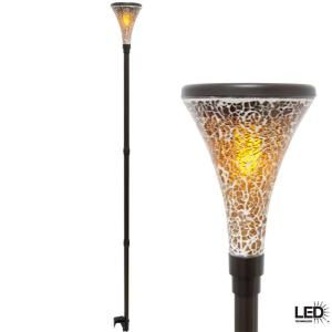 Hampton Bay Solar Tiki Outdoor Dark Brown Light with Mosaic Glass Shade (2-Pack)-46233-100PS at The Home Depot