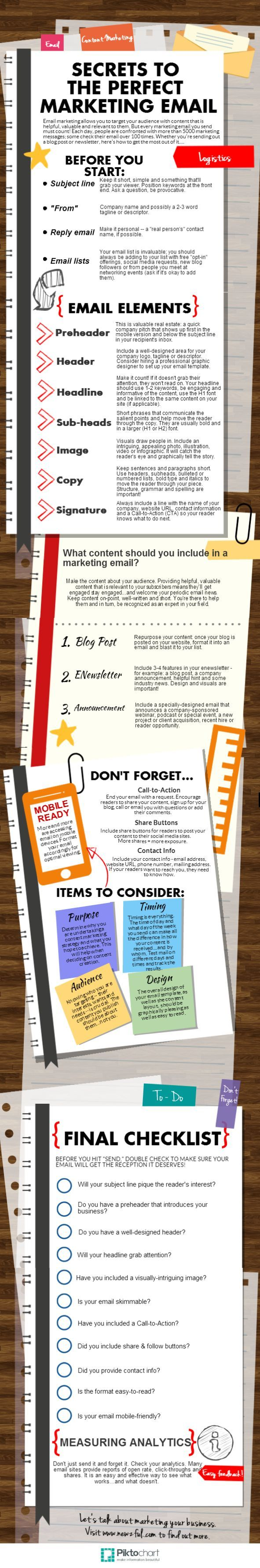 Secrets to the perfect marketing email by Piktochart