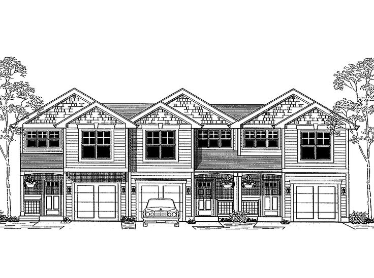 Narrow lot triplex with front loading garages hwbdo66518 for Narrow lot house plans with garage