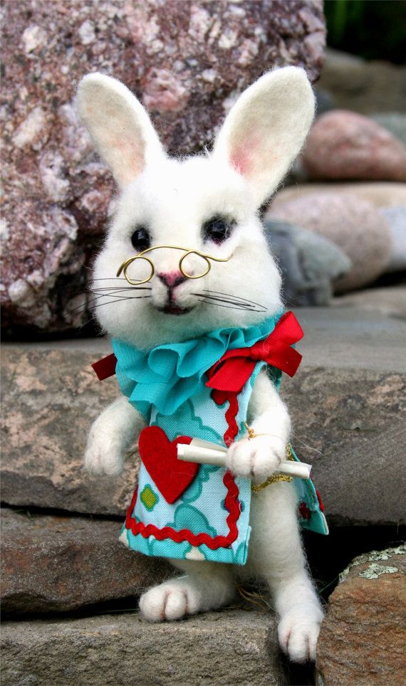 Alice's Wonderland White Rabbit Teal & Hearts OOAK by SteviT