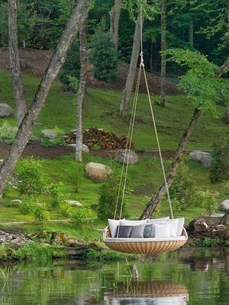 Over water hammock...looks so peaceful, but how would you get on?lol
