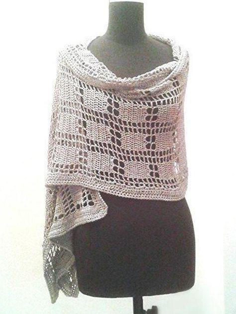 PATTERN: Silver stole, metallic silver wrap, crochet silver shawl