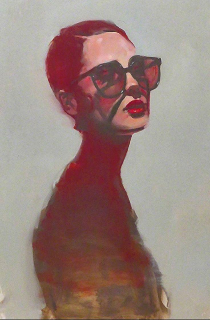 Michael Carson (b. 1972) {contemporary figurative beautiful female head sunglasses long-neck woman face portrait cropped painting #loveart}