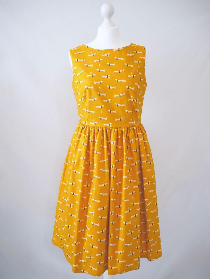 Size 12 - Mustard Sausage Dogs Print Picnic Dress - Ladies Handmade Dress