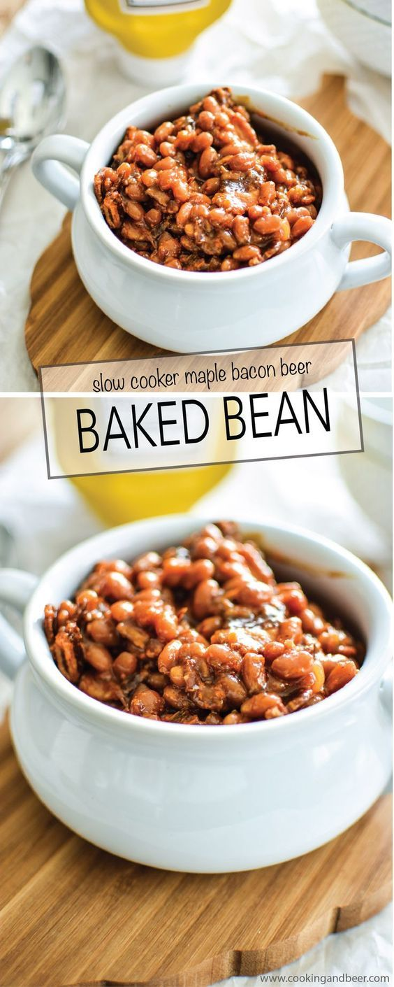 Slow Cooker Brown Sugar and Mustard Baked Beans with Bacon Recipe! | #KetchupsNewMustard #ad www.cookingandbeer.com
