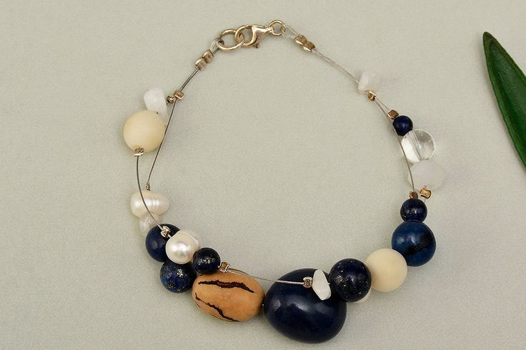 Tagua bracelet, navy beads bracelet, eco-chic jewelry, lapis bangle, women gift idea, exotic bangle,layered bracelet, organic jewelry by ColorLatinoJewelry on Etsy