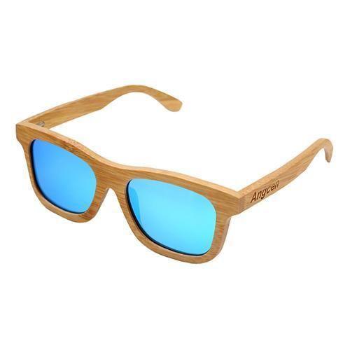 Generisches Unisex Fashion Polarisierte Linse Sonnenbrillen Bambus (Orange Farbenen Rahmen mit Blauen Linse) 1aDS5