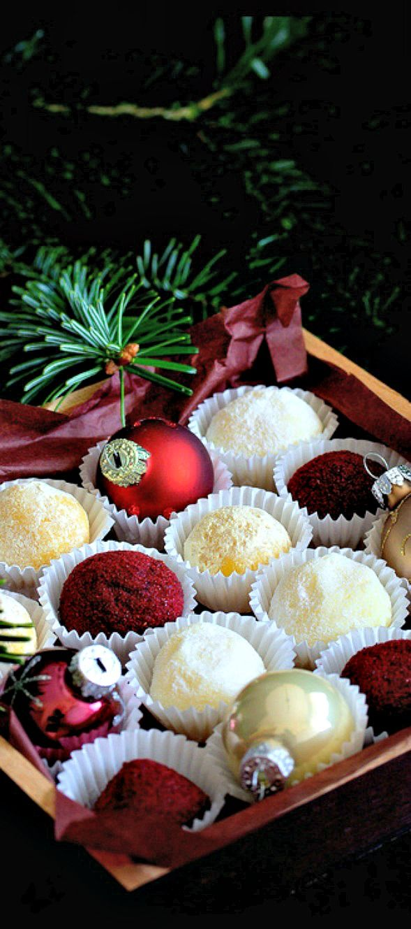 SERVE a Tray of Truffles/Candies/Chocolates and DECORATE it with Mini Ornaments OR OTHER HOLIDAY OR PARTY-THEMED DECORATIONS for a Festive Treat ANY Day of the Year!