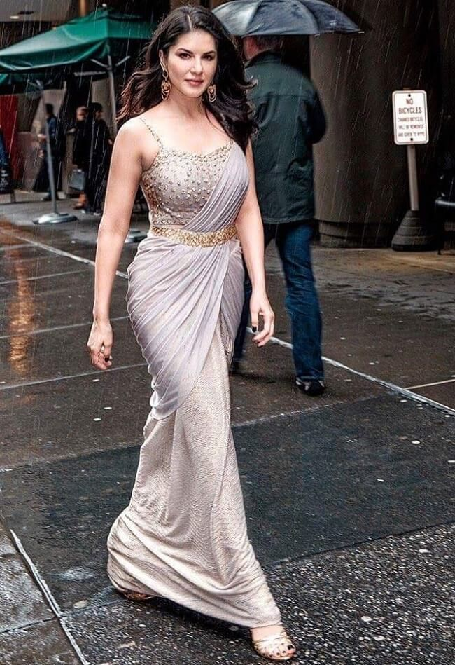 #SunnyLeone in #Gray Unique Drape Saree with Studded & Strappy Blouse #Bollywood #CelebrityLook