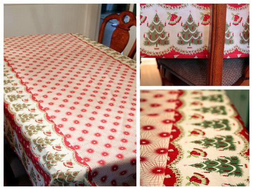 Christmas Tablecloth Tutorial Using 2 Coordinating Fabrics (so You Can Use  Fun Cmas Fabric Even