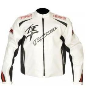 White Hayabusa motorycle jacket with armor protection