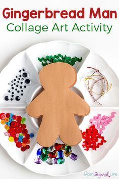 Gingerbread man art activity for kids. Simple Christmas collage craft for preschoolers.