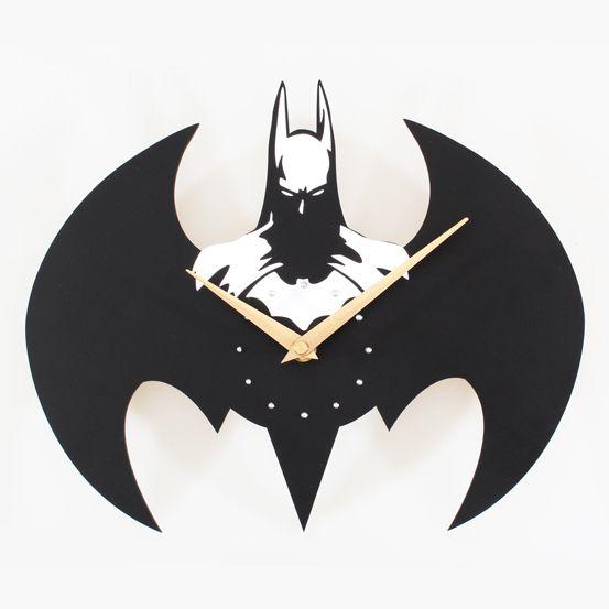 Creativo sólido Batman creativo reloj de pared de acrílico para la decoración del hogar regalo único negro Batman reloj de pared relojes de sala de estar