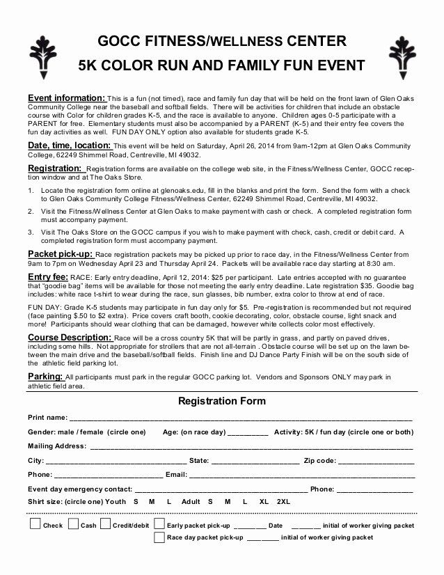 Race Registration Form Beautiful Color Run Entry Form Registration Form Registration Form Sample Templates