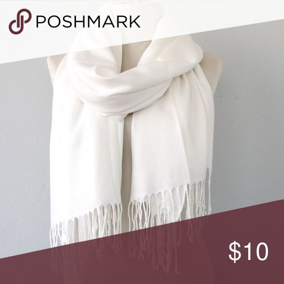 White Pashmina Scarf Shawl Very soft white Pashmina worn only once. Bought to keep wedding guests warm for the evening. Accessories Scarves & Wraps