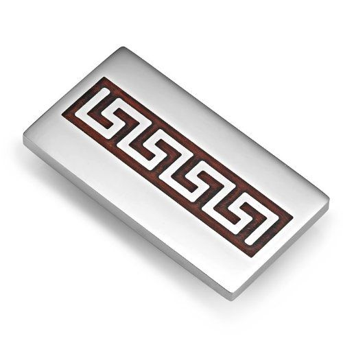 R&B Schmuck Herren Geldklammer Edelstahl - Griechische Symbole (Silber, Dunkelbraun): 10,90€