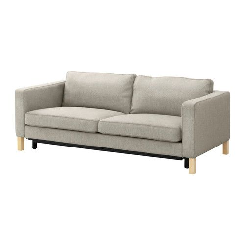KARLSTAD Three-seat sofa-bed w storage - Tenö light grey - IKEA
