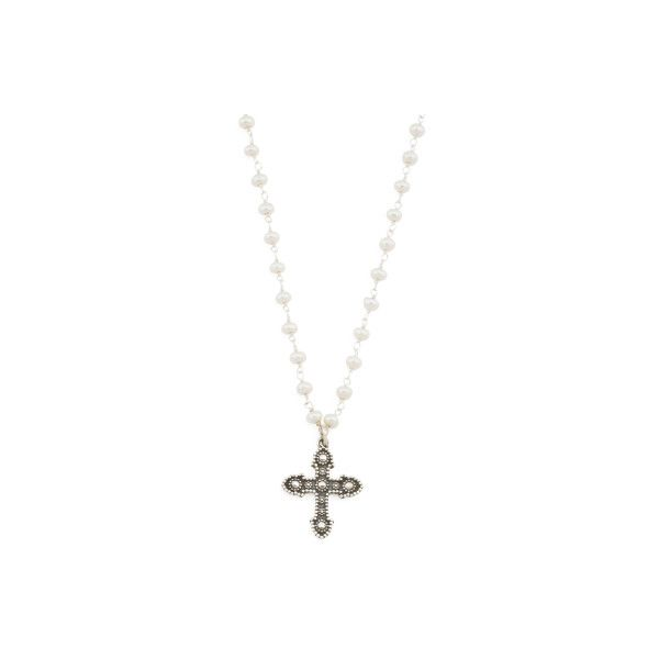 Made In India Sterling Silver Pearl Cross Choker Necklace ($30) ❤ liked on Polyvore featuring jewelry, necklaces, pearl necklaces, pearl choker necklace, sterling silver choker, crucifix necklace and sterling silver choker necklace