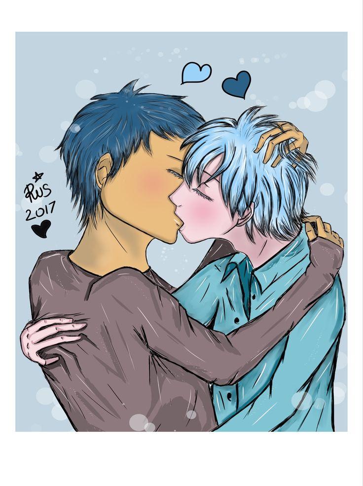 Aomine and Kuroko first kiss for MyDigitalArt by RisB
