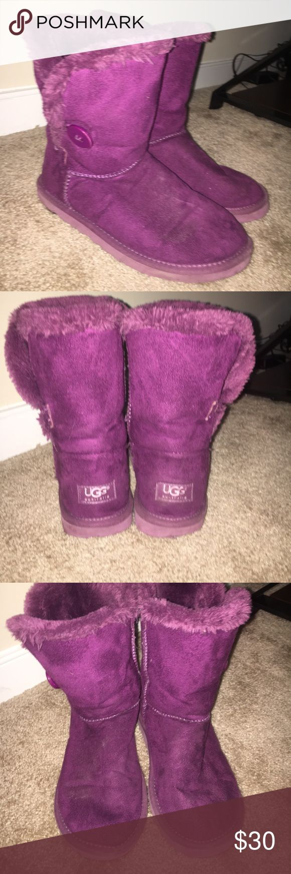 Purple UGGS bailey buttons. have been worn, but have LOTS of life in them. these are in good condition. open to offers. UGG Shoes Winter & Rain Boots