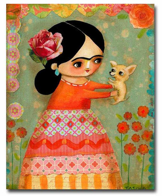 ORIGINAL portrait painting FRIDA KAHLO with tan chihuahua mixed media on canvas by tascha