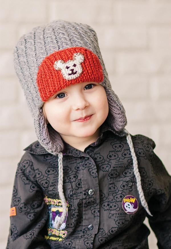 Вязаная спицами детская шапочка. Детская шапочка с ушками спицами для мальчика