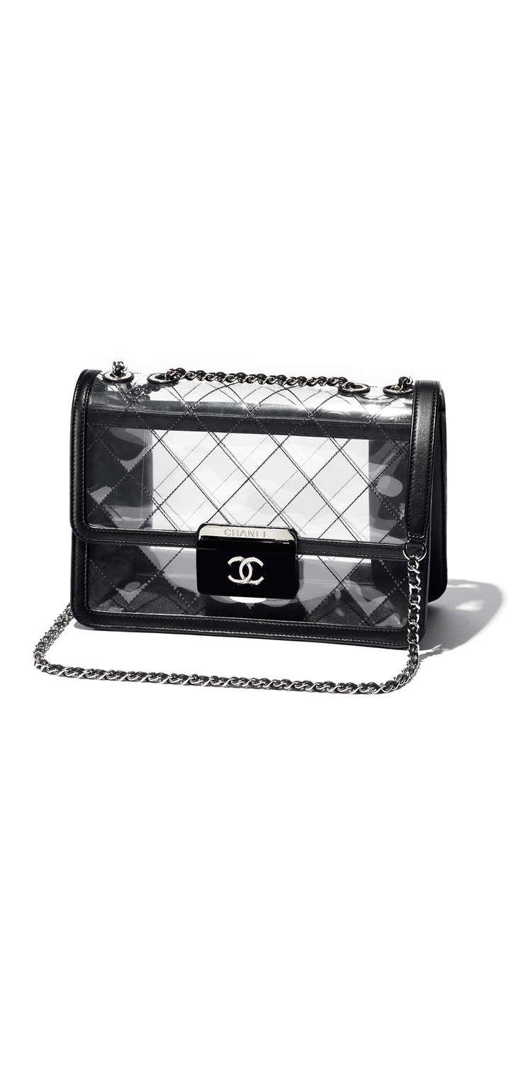 CHANEL -  black, transparent canvas, lambskin, resin & silver-tone metal flap bag