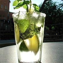 Mojito:   azúcar, hojas de menta, jugo de liimón, mojito, refrescante, ron, soda