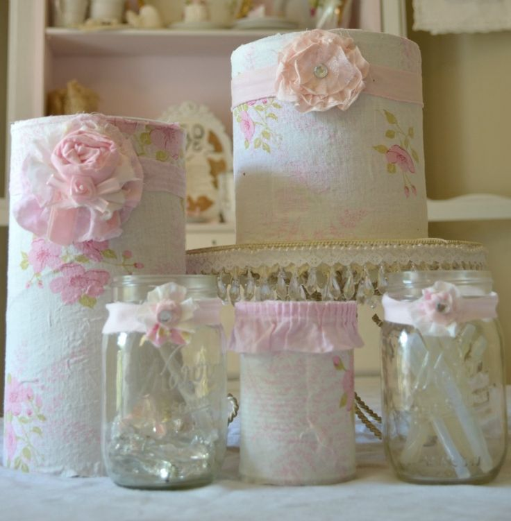 decorated coffee cans, jars, etc. for craft storage - I've seen a lot of ideas for decorating plain upcycled containers, but these look so lovely - just my style! I'm looking forward to re-doing my craft room! These are going to be SO inspiring to work with!