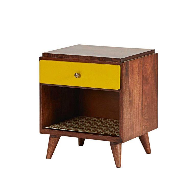 table de chevet vintage 1 tiroir en manguier maisons du. Black Bedroom Furniture Sets. Home Design Ideas