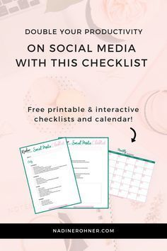 Social Media Checklist and Social Media Planner that doubles your productivity. Download this Pro Social Media Planner for free #socialmedia
